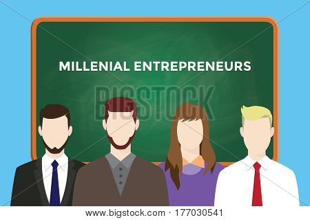milllenial entrepreneurs illustration with four people in front of green chalk board and white text vector