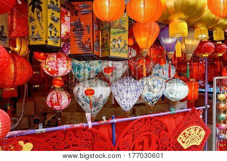 Chinese paper lanterns at the Singapore Chinatown