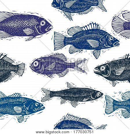 Freshwater fish vector endless pattern nature and marine theme seamless tiling. Art seafood backdrop zoology idea background.