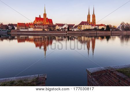 Wroclaw Cathedral and Collegiate Church at sunset. Wroclaw Lower Silesian Poland.