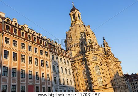 Dresden Frauenkirche at sunset. Dresden Saxony Germany.