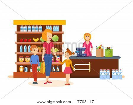 Young mother with her kids spend weekdays, implementing a campaign in store, buying goods, on the box office near the seller. Vector illustration isolated on white background.