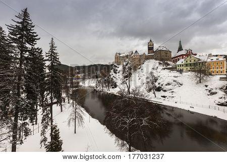 Panorama of Loket. Loket Bohemia Czech Republic.