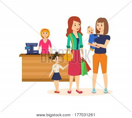 Shopping people concept. Girl with a basket full of products is walking through the mall, next girl keeps in the hands of a child, other girl keeps in the hands of the bag. Vector illustration.