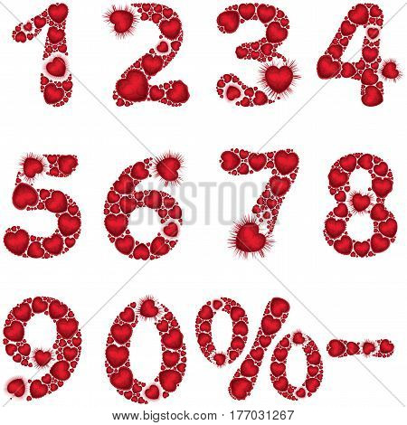 Illustration number symbols zero to nine minus and percent consisting of valentines hearts. Handmade font and elements
