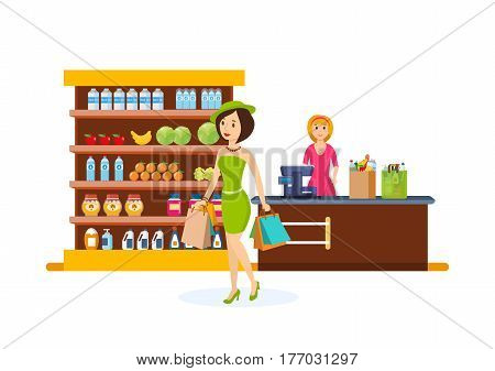 Young fashion girl make purchases in shopping center, carries a package with products, near the cash register a seller punches the products. Vector illustration isolated on white background.