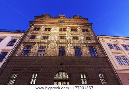 Old Town Hall on Republic Square in Pilsen. Pilsen Bohemia Czech Republic.