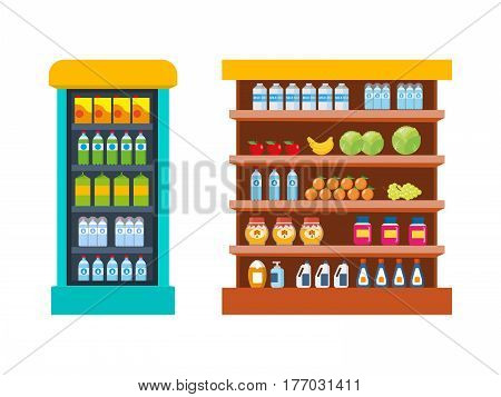 Store food products, shopping mall, counter with foods - vegetables and fruits, sweets, on background interior room. Vector illustration isolated on white background.