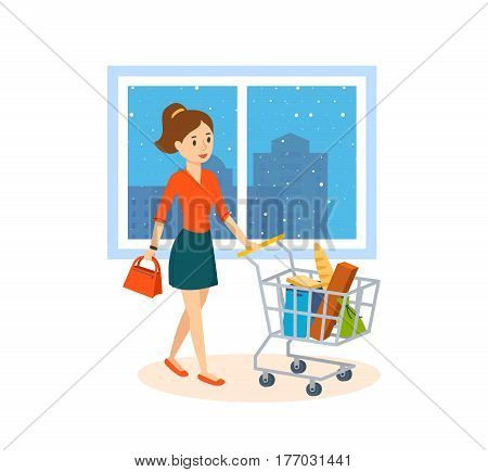 Shopping people. Young woman makes a major purchase in the mall. In each hand she holds a lot of bags with the goods. Vector illustration isolated on white background.