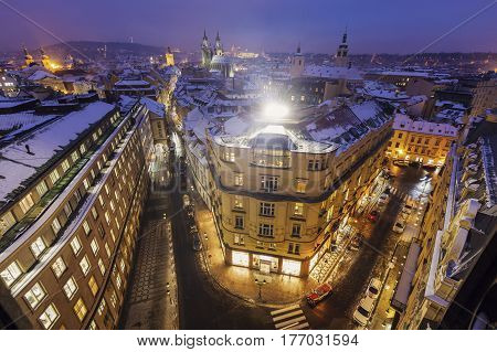 Winter in Prague - city panorama with Tyn Cathedral. Prague Bohemia Czech Republic.