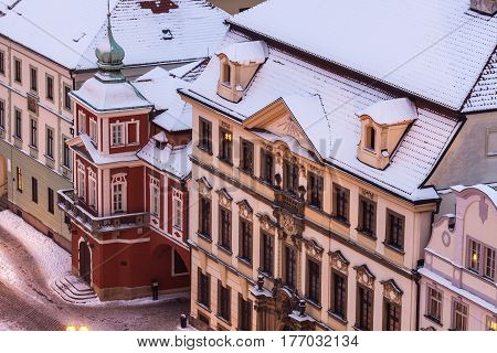 Winter on Main Square in Hradec Kralove Bohemia Czech Republic.