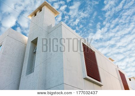 Modern house on blue skies background.,Exterior concept.