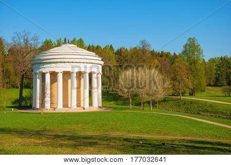Ancient pavilion in the spring Pavlovsk park in St. Petersburg