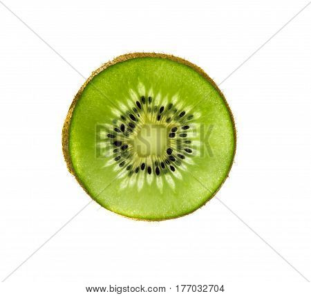 cut kiwi on white background with clipping circuit
