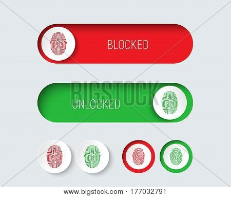 Design Sliders And Buttons Red And Green With A Fingerprint.