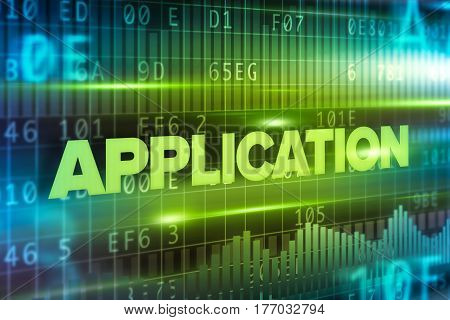 Application abstract concept blue text on blue background