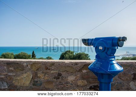 An observation deck at Malaga fortress (Alcazaba) and a view to Mediterranean sea, Andalusia, Spain.