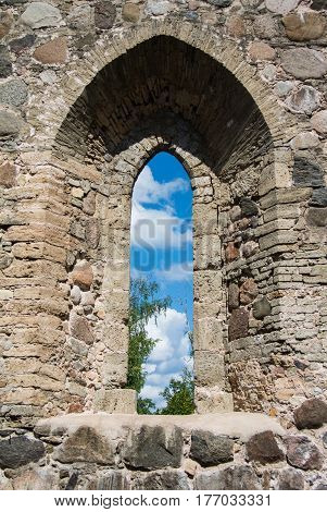 A view through a window of an old castle at Sigulda Latvia.