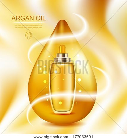 Illustration Cosmetic Product with Argan Oil, Wellness Complex, Advertising Poster with Orange Oil Drop - Vector