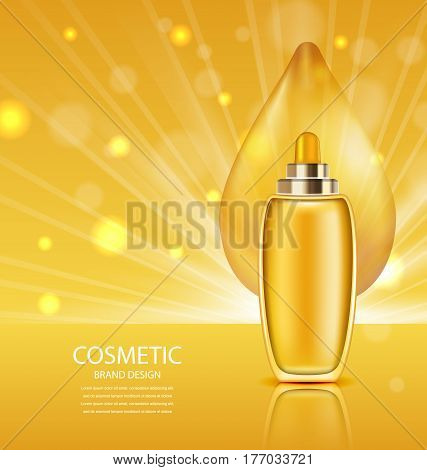 Illustration Cosmetic Product with Oil, Abstract Orange Template for Ads, Poster - Vector