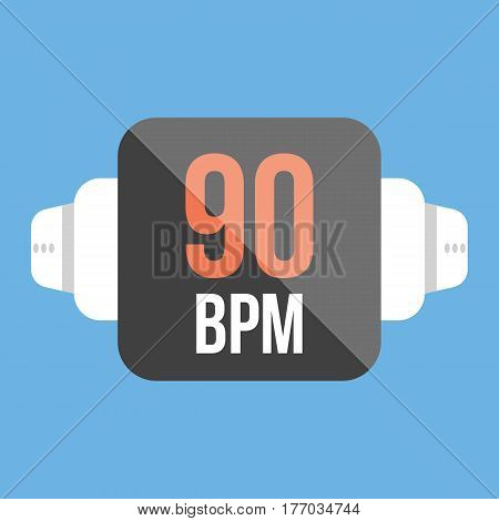 Illustration of an isolated smart watch icon with a heart beat sign. flat style