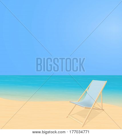 Sunny beach landscape. Splash waves on coast. Deck chair stand on sand alone. Vector