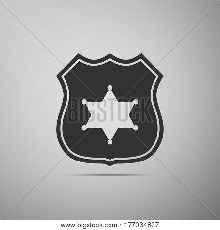 Police badge flat icon on grey background. Vector Illustration