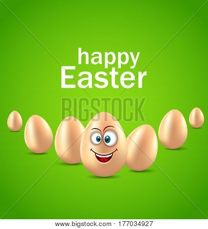 Illustration Happy Easter Card with Funny Egg, Humor Invitation - Vector