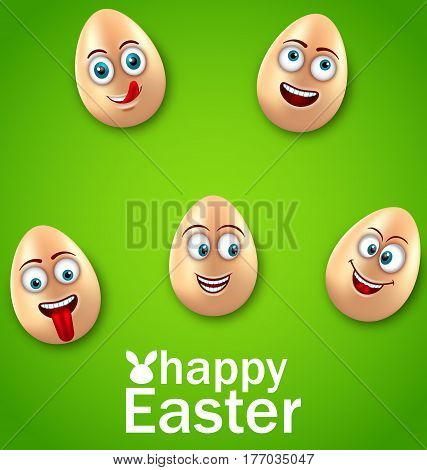 Illustration Happy Easter Card with Crazy Eggs, Positive Emotions, Humor Invitation - Vector