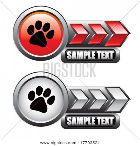 paw print on red and silver arrow nameplates