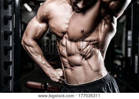 Caucasian Sexy Fitness Model In Gym Close Up Abs.