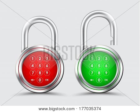 Metal Padlocks, Digital Password On A Red And Green Dial.