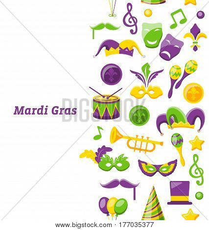 Illustration Greeting Invitation for Mardi Gras and Carnival , Seamless Texture, Fat Tuesday - Vector
