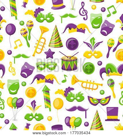 Illustration Seamless Texture with Set Carnival and Mardi Gras Icons and Objects, Fat Tuesday - Vector