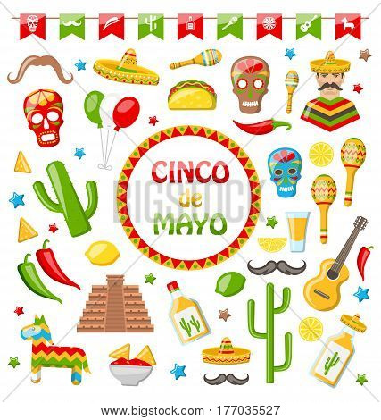 Illustration Collection of Mexican Icons Isolated on White Background. Objects and Symbols for Cinco de Mayo - Vector