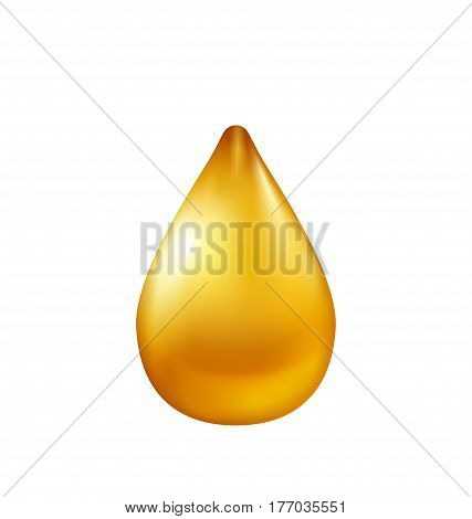 Illustration Oil Drop Isolated on White Background. Maybe Used as Drop of Honey or Petrol - Vector