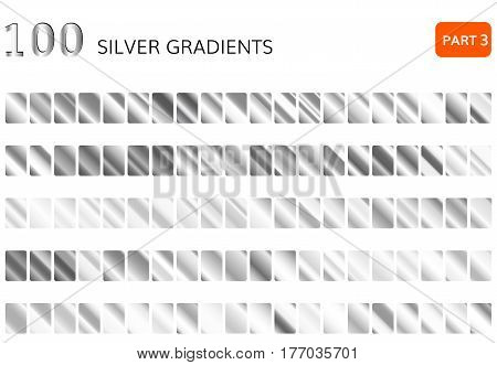 Silver gradient set. Metallic silver gradient collection