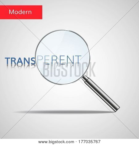 Magnifier realistic transparent vector. Magnifying glass with shadow