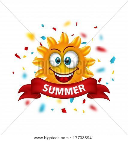Illustration Summer Banner with Cartoon Smiling Sunny with Unfocused Confetti - Vector