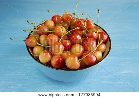 A bowl cherries on a blue background