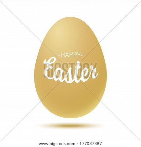 Vector Happy Easter typographic calligraphic lettering with gold realistic egg frame  isolated on white background. Retro holiday easter badge. Religious holiday sign.