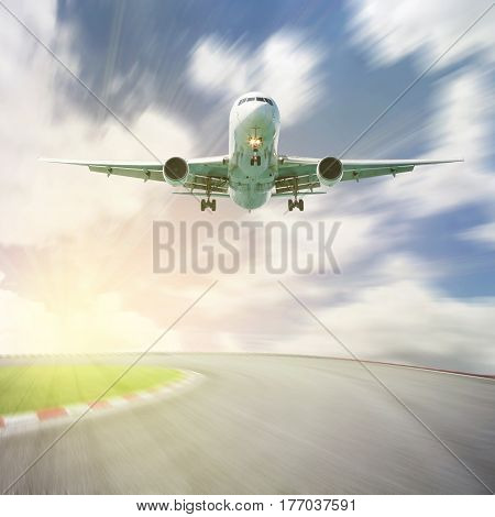 Passenger airplane take off from runways against beautiful sky concept aircraft transport and traveling business industry