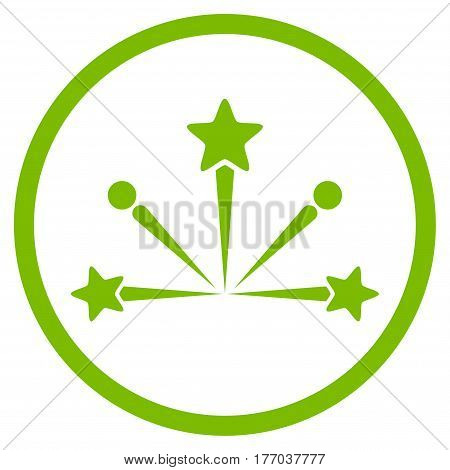 Fireworks Bang rounded icon. Vector illustration style is flat iconic symbol inside circle, eco green color, white background.