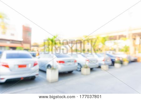 Abstract Blurred Car At Parking Outdoor