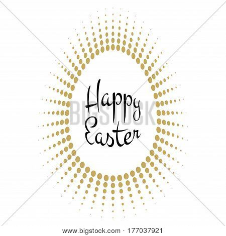 Vector Happy Easter black typographic calligraphic lettering with gold halftone egg as rays frame isolated on white background. Retro holiday easter badge. Religious holiday sign.