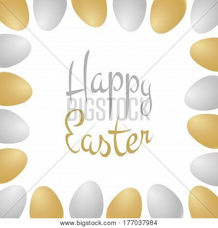 Vector Happy Easter gold - silver typographic calligraphic lettering isolated on white background with gold and silver realistic eggs. Retro holiday easter badge. Religious holiday sign.