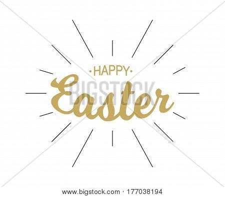 Vector Happy Easter gold typographic calligraphic lettering with black rays isolated on white background. Retro holiday easter badge. Religious holiday sign.