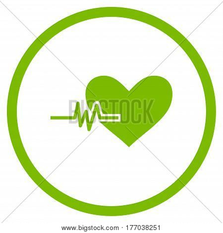 Heart Pulse rounded icon. Vector illustration style is flat iconic symbol inside circle, eco green color, white background.