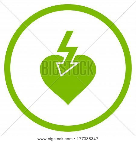 Heart Shock Strike rounded icon. Vector illustration style is flat iconic symbol inside circle, eco green color, white background.