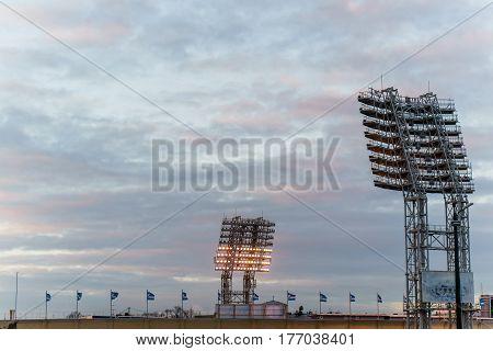 the floodlights at the stadium Petrovsky. Russia Saint-Petrsburg 18.032017